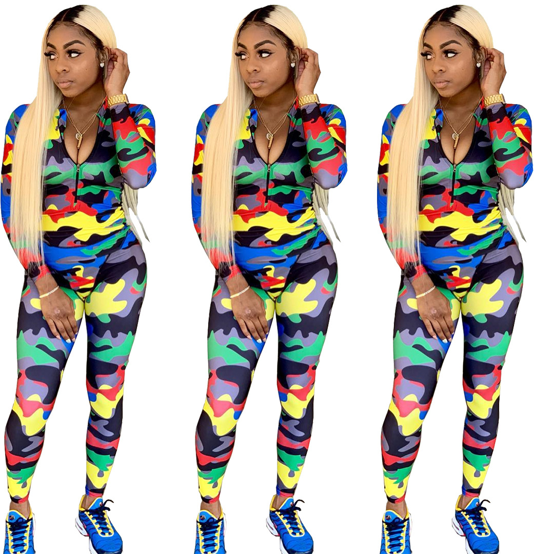 Spring Summer Women Jumpsuit Bodycon Playsuit Bodysuit Overalls Rompers Plus Size Casual Camouflage Print Jumpsuits