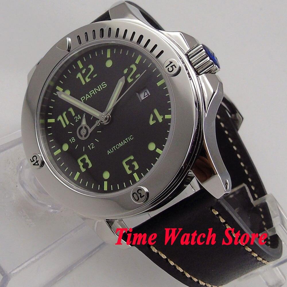 Solide 43mm Parnis montre 24 heures verre Saphir cadran noir lumineux Automatique MIYOTA mouvement montre homme 1011