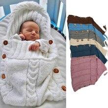 Knitted Sleeping Bag Newborn Infant 0 12m Baby Boy Winter Wool Crochet Hooded Swaddle Blanket Outdoor Stroller Pocket Wrap