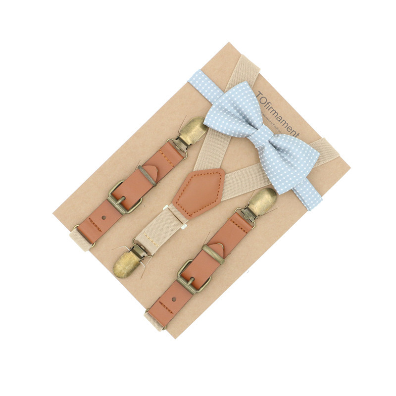 3 Clips Newborn Kids Sizes Suspenders Bow Tie Set Solid Wedding Accessory Ring Bearer Outfit Toddler Boy Girl