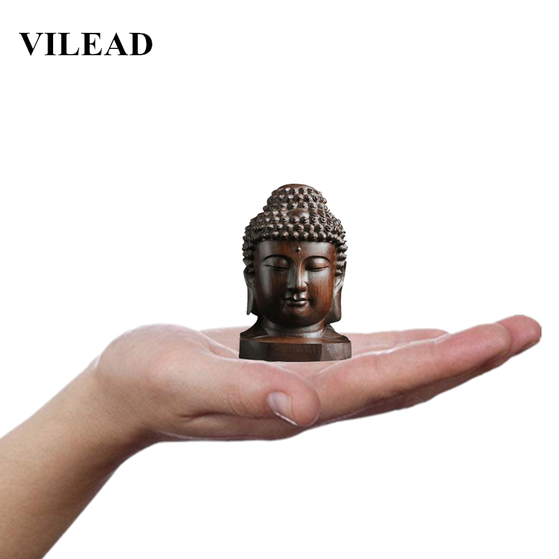 VILEAD 2.36'' Wood Sakyamuni Statue 6cm Wooden Buddha Statue Creative Tathagata Figurines Mahogany India Buddha Head Crafts