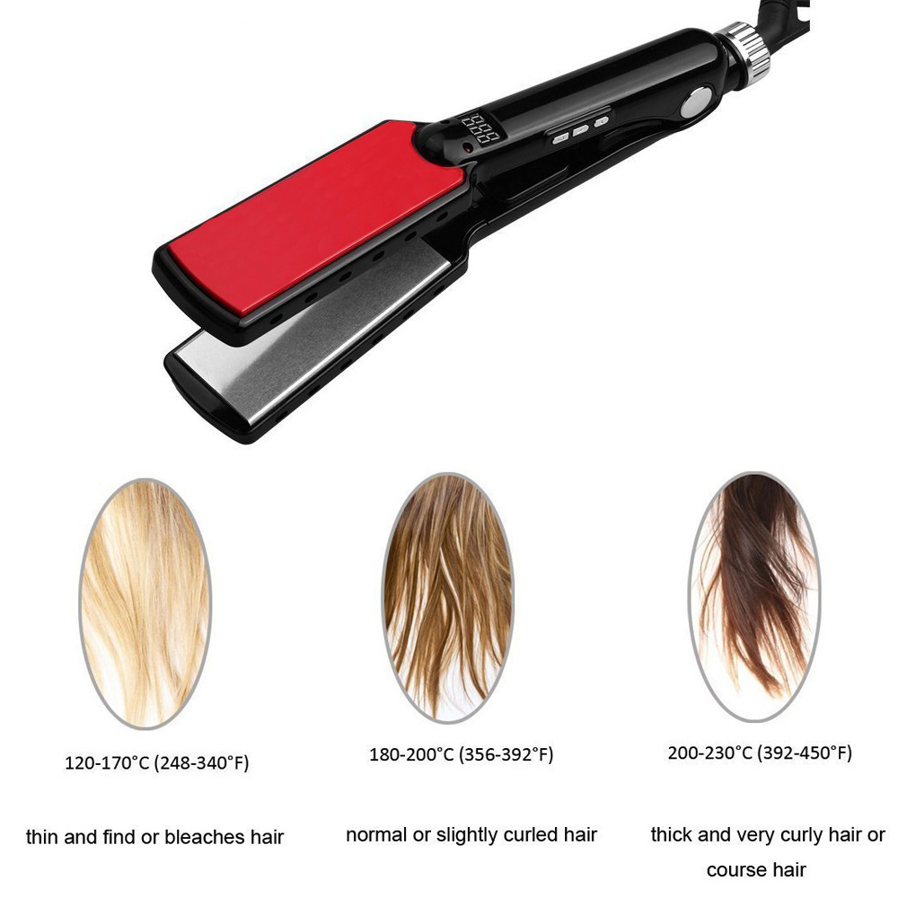 Image 5 - RUCHA Professional Flat Iron 470F High Temperature Wide Plates Straightening Irons MCH Titanium Keratin Treatment Styling Tools-in Straightening Irons from Home Appliances