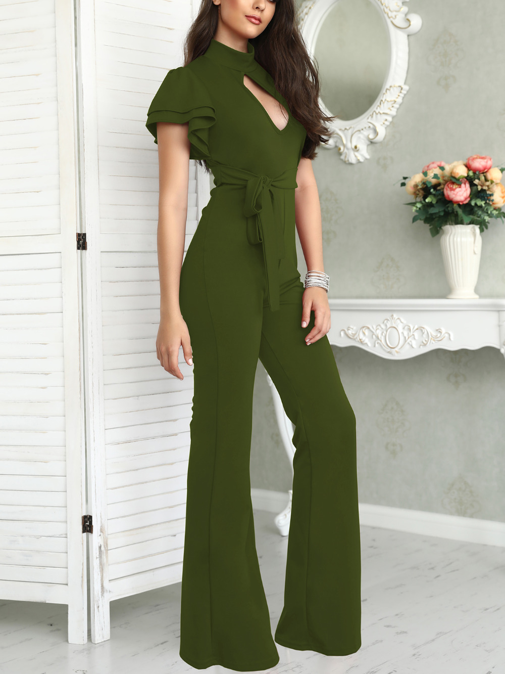 2018 New Fashion Stylish Office Casual Women Elegant Jumpsuit Plus Size Cut Out Flutter Sleeve Belted Flare Hem Jumpsuit ...