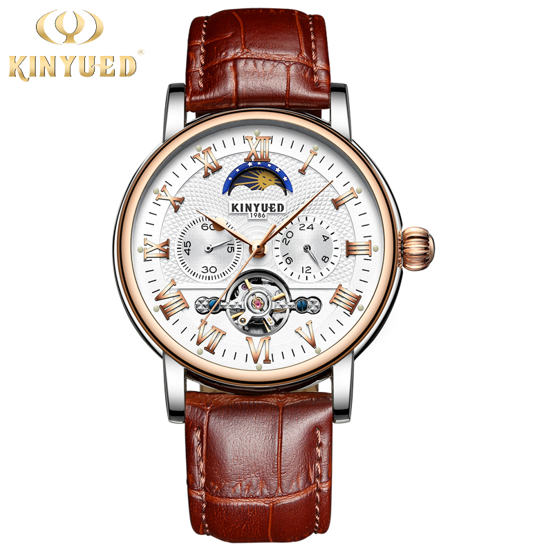 KINYUED Moon Phase Tourbillon Mens Skeleton Watch Men Chronograph Automatic Mechanical Watches Luxury Brand Relogio Masculino kinyued fashion tourbillon skeleton watch men sport luxury brand mens automatic mechanical watches calendar relogio masculino