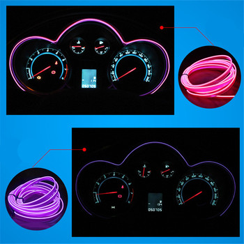 JingXiangFeng HOT SALE Car Decoration el 2M flexible neon light glow salon wire flat led strip for interior lights 12V Inverter image