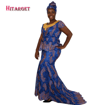 2017 Lace Skirt Set African Designed Traditional Bazin Lace Riche Clothing Plus Size African Top&Skirt Set Kanga Clothing WY1851