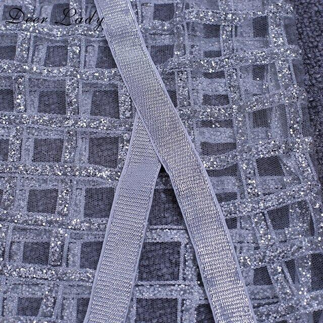 Deer Lady Autumn 2 Piece Bandage Set 2018 kim kardashian Bodycon Mesh Sheer Dress Women Glitter Dress Party White Sexy Crop Top  5