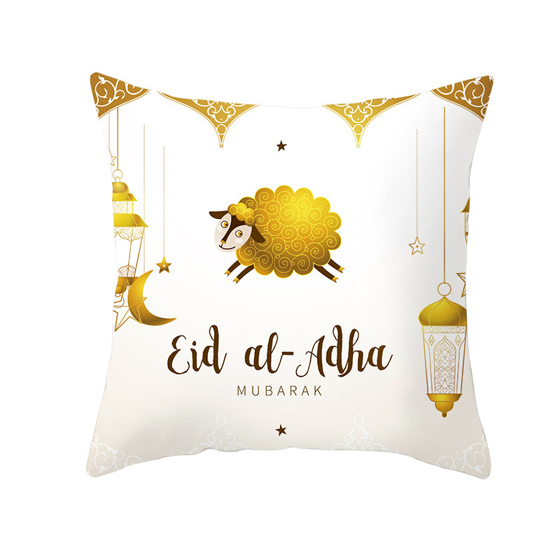 Islamic Eid Mubarak Home Decorations Cushion cover for chair Ramadan sofa decorative pillows Cartoon sheep Square pillow case in Cushion Cover from Home Garden
