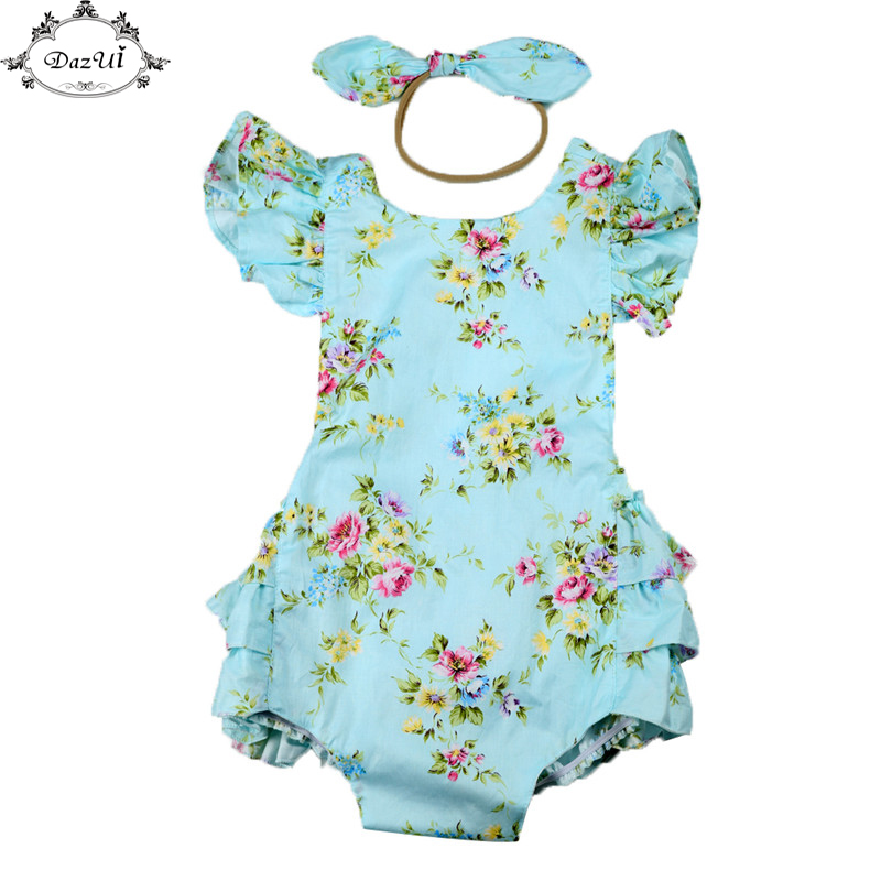 Baby Clothes Floral Ruffle Sleeve Girls Sunsuit Set  Summer Children Clothing Backless Girls Jumpsuit Romper Bow Headband Set 3pcs set newborn infant baby boy girl clothes 2017 summer short sleeve leopard floral romper bodysuit headband shoes outfits
