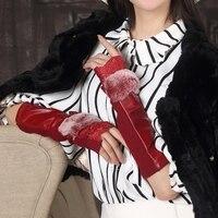 En gros 2017 ultra ceinture longue conception de mode dames véritable mitaines en cuir chaud gants d'hiver pour les femmes livraison gratuite