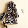 Europe Women's Autumn Winter 2016 New Double Breasted Dyeing Leopard Printed Long Sleeved Slim Coat + Belt