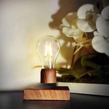 Magnetic Levitating Light Bulb Desk Wood Grain Floating Lamp