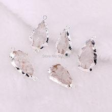 10 шт. ZYZ-4813 ясно кварц Arrowhead разъем, кварц Arrowhead кулон, серебряный обрезная прозрачный кварцевый Золото Стрелка из бисера