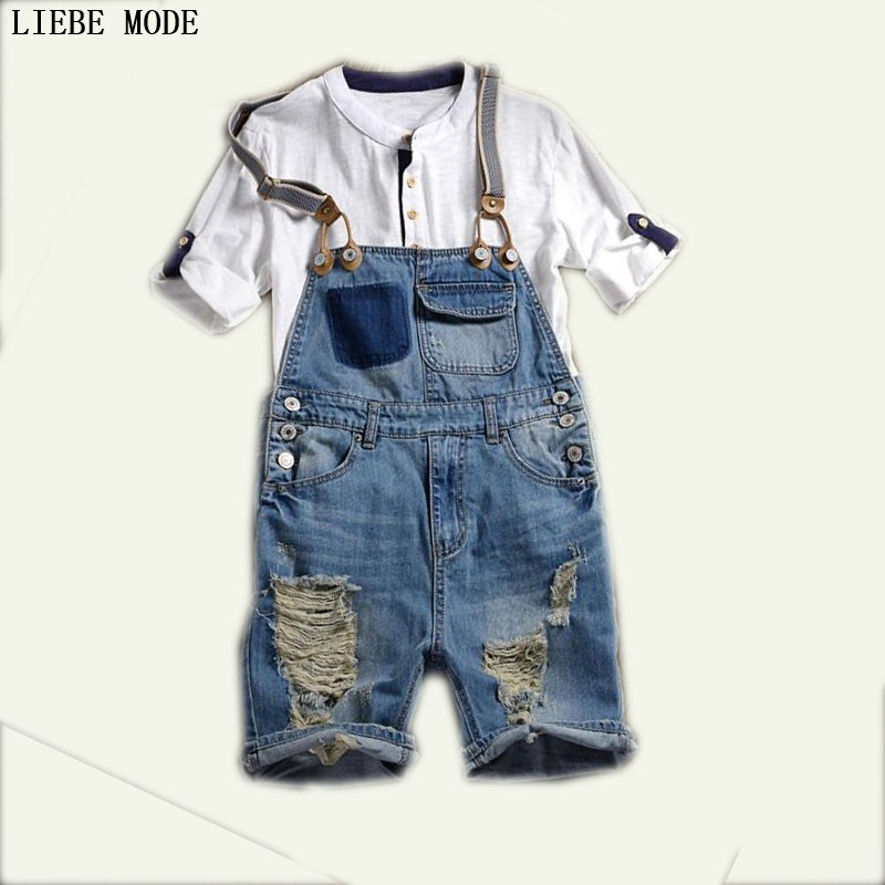 Free Shipping Denim Overall Shorts For Men Bib Overalls Shorts Mens Fashion Blue Jumpsuit Summer Shorts Ripped Jeans Men denim overalls male suspenders front pockets men s ripped jeans casual hole blue bib jeans boyfriend jeans jumpsuit or04