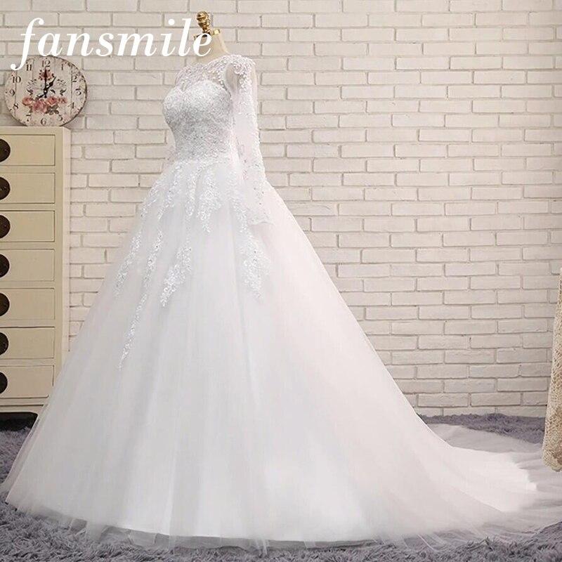 Fansmile Real Photo Vintage Lace Plus Size Long Sleeve Wedding Dresses 2019 Vestidos de Novia Ball