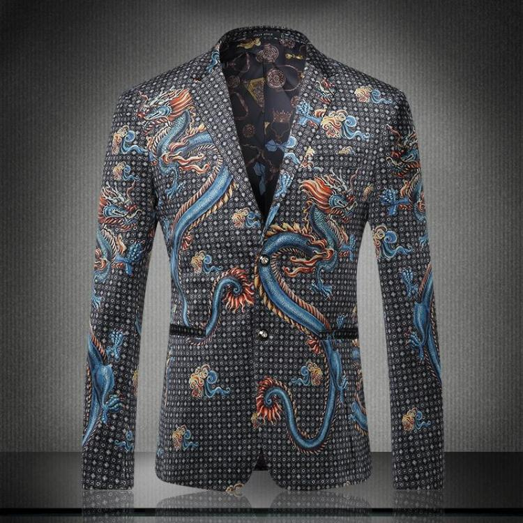 Fashion Men Chinese Dragon Pattern Personality Jacket Male Plus Size Singer Stage Performance Prom Slim Casual Blazer Coat