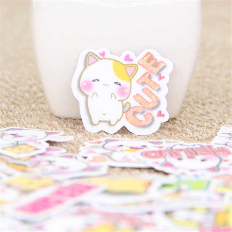 40 unids/lote gato inglés situación DIY adhesivo de papel decorativo para teléfono coche portátil álbum diario mochila niños pegatinas de juguete