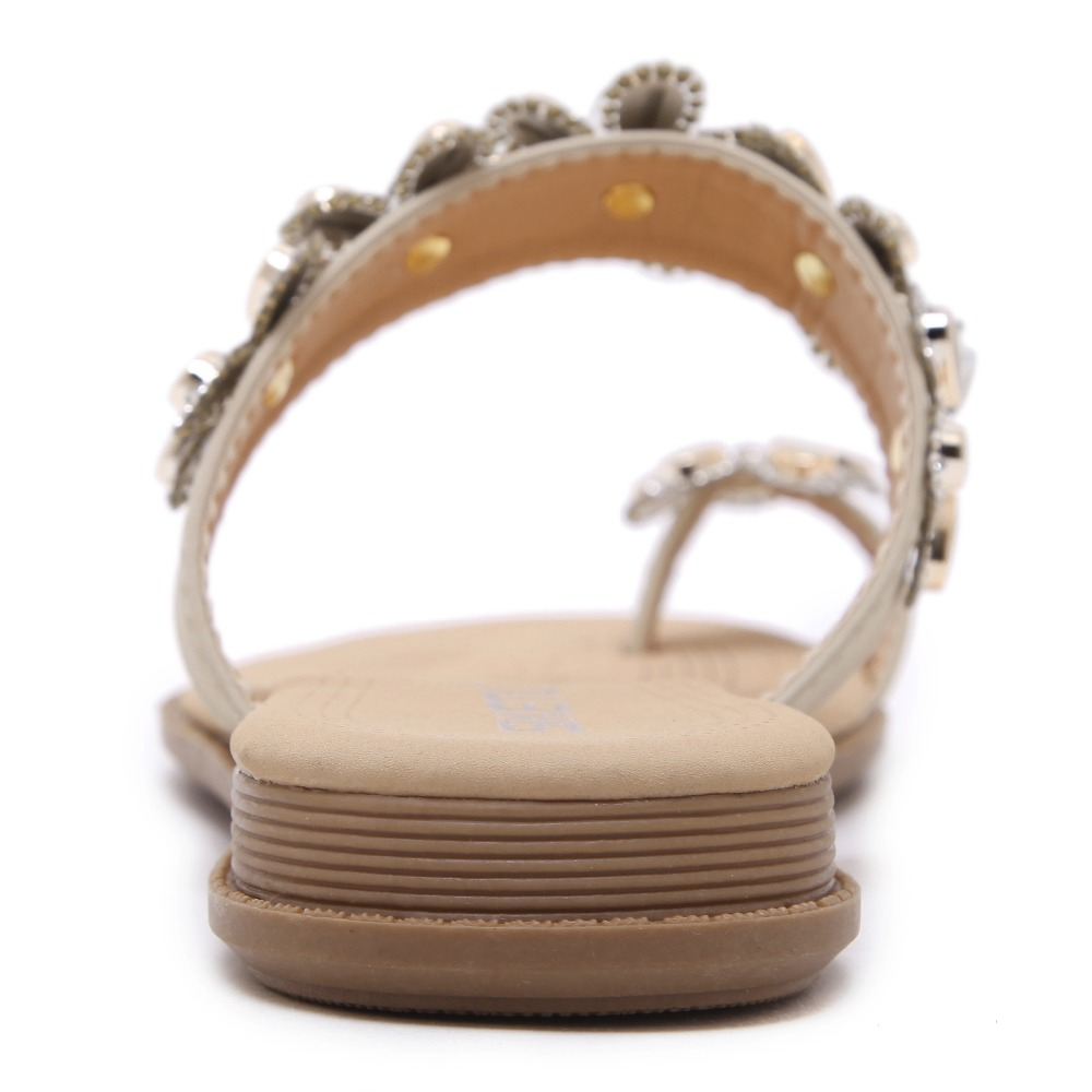 Bohemio Zapatos Con Cómodo Plana Clip Toe Siketu Nueva Flores 2017 Mujeres Corea Diamantes Sandalias Piedras Falsas Marca tO6wEx8q