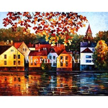 Landscape Abstract Autumn City Hand Painted Palette Knife Modern Oil Painting Canvas Wall Living Room Artwork Fine Art