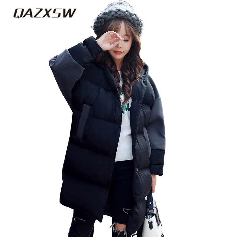 QAZXSW 2017 Winter Cotton Coat Women Preppy Winter Jacket New Patchwork Parkas Loose Thick Girl Super Warm Outerwear Coat HB376 qazxsw 2017 new winter cotton coat women padded jacket hooded long parkas for girl thick warm winter coat jaqueta feminina hb274