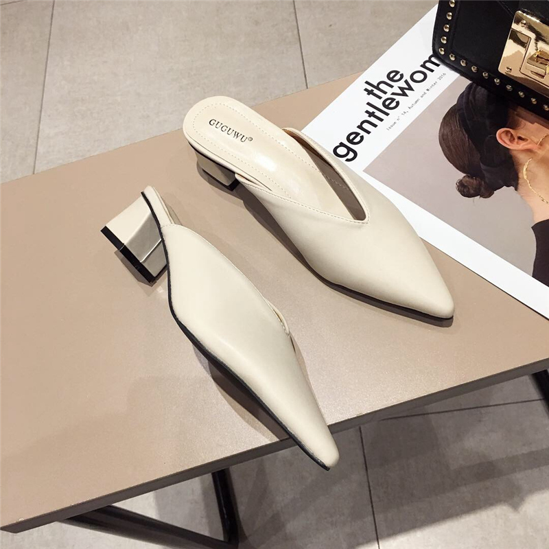 2019 Summer Fashion Women Pointed Toe Slipper Nude White Square Low Heels Outsides Ladies Slides Luxury Brand Beach Mules Shoes(China)