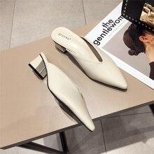 حذاء البغال للشاطئ ماركة فاخرة للسيدات صيفي موديل 2019 حذاء بمقدمة مدببة عاري أبيض ذو كعب منخفض خارجي