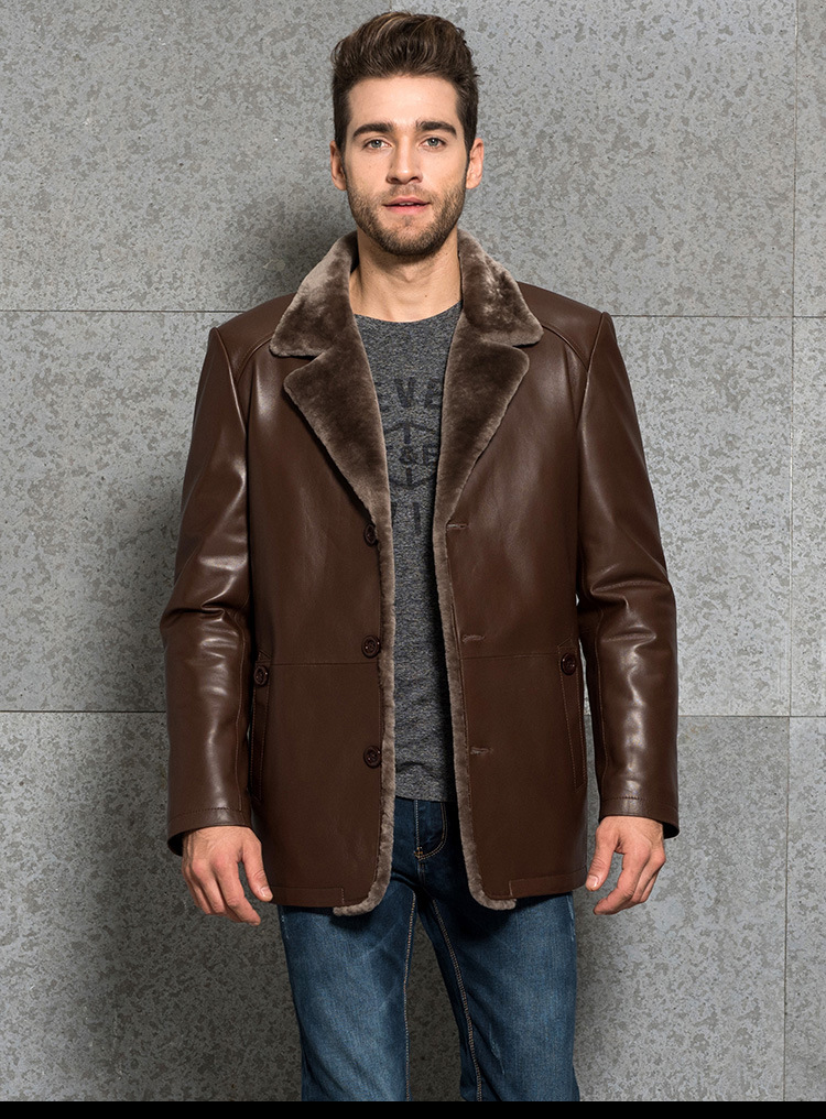 Men's Business Leather Jacket Long Fur Coat Sheep Shearing Suit Coat Bring Your Custom Handmade Increase size Plus S-8XL