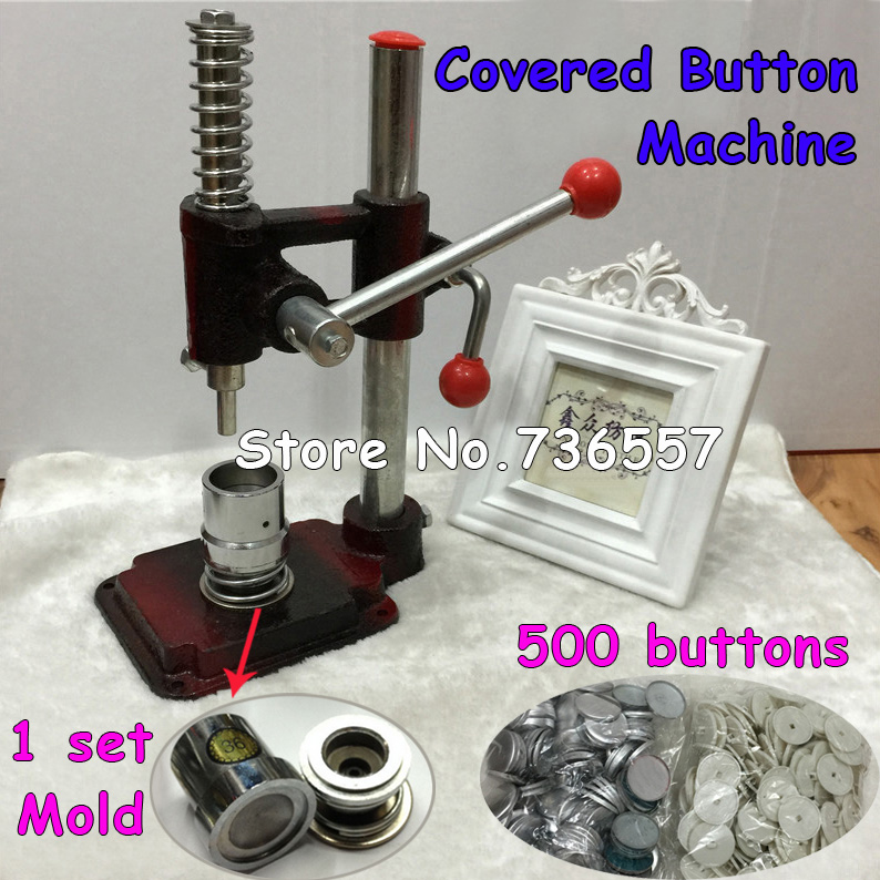 Fabric Covered Button Press Machine Handmade Fabric Self Cover Button Maker Machines 24#1.5cm Mold Tools  500 pcs buttons graffiti art coloring book pb