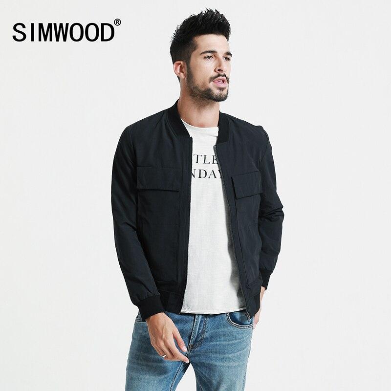 SIMWOOD 2018 Automne Nouvelle baseball col poches Bomber Veste Hommes Mode Manteaux Homme Vêtements Slim Fit Marque Vêtements JK017003