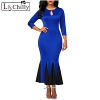 La Chilly Runway 2018 Party Dresses Royal Blue Keyhole Front Flounce Hem Long Sleeve Vintage Dress