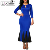 La Chilly Runway 2018 Party Dresses Royal Blue Keyhole Front Flounce Hem Long Sleeve Vintage Dress