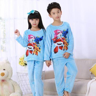 c6ac639691 Children Fleece Pajamas Winter Thicken Warm Flannel Sleepwear Girls Boys  Lounge Wear Coral Fleece Baby Pijamas Big Kids Homewear