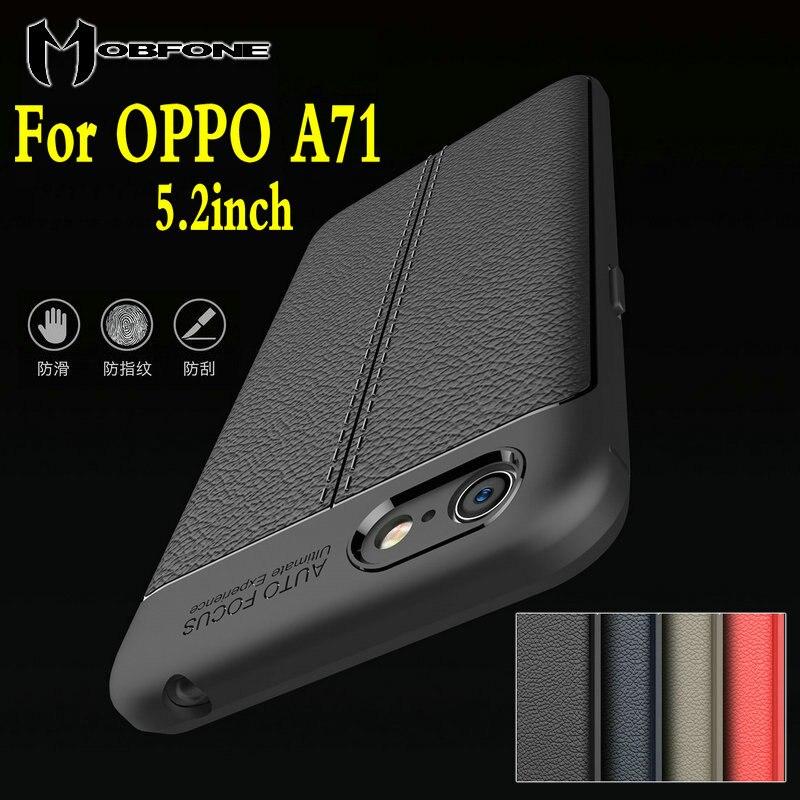 Mobfone чехол для <font><b>OPPO</b></font> A71 5.2 дюймов Роскошные личи матовая задняя крышка ультра тонкий мягкий ТПУ Силиконовые Панцири телефон корпуса САППУ