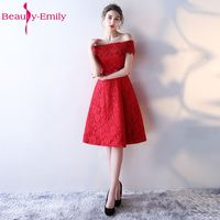Beauty Emily High Quality Lace Short Bridesmaid Dress 2017 Off The Shoulder Vestidos Para Festa Robe