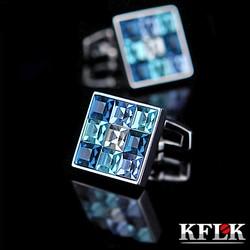 KFLK 2019 Luxury shirt cufflink for mens Brand cuff buttons Gradient effect Crystal cuff link High Quality abotoaduras Jewelry