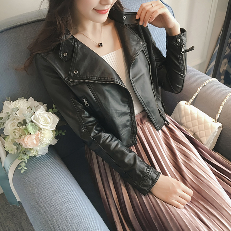 2018 Short Coats Women Clothers PU Leather Jacket Leather Slim Personality Zipper Motorcycle Cool Street Rock Jackets