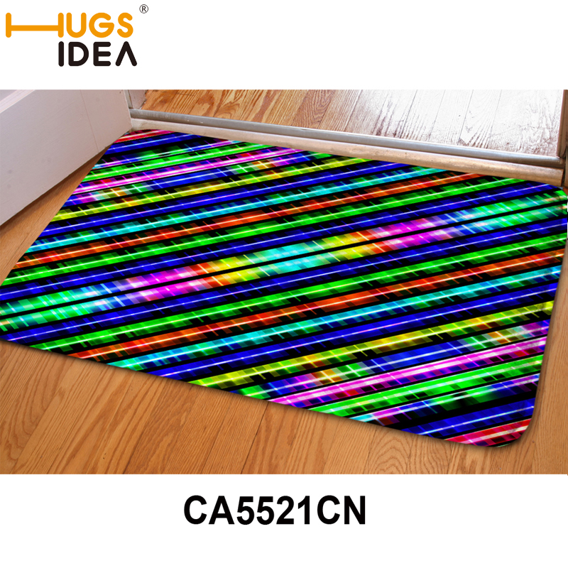 HUGSIDEA 3D Rainbow Color Striped Pattern Carpet Area Rugs For Home Living  Room Door Floor Mat For Hallway Kids Bedroom Rugs