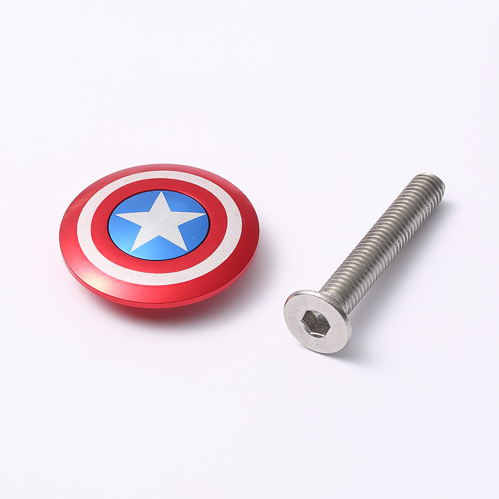 Bicycle Stem Top Cap with Screw Headset Cover Captain America 28.6mm 1 1/8 Steerer Fork Tube