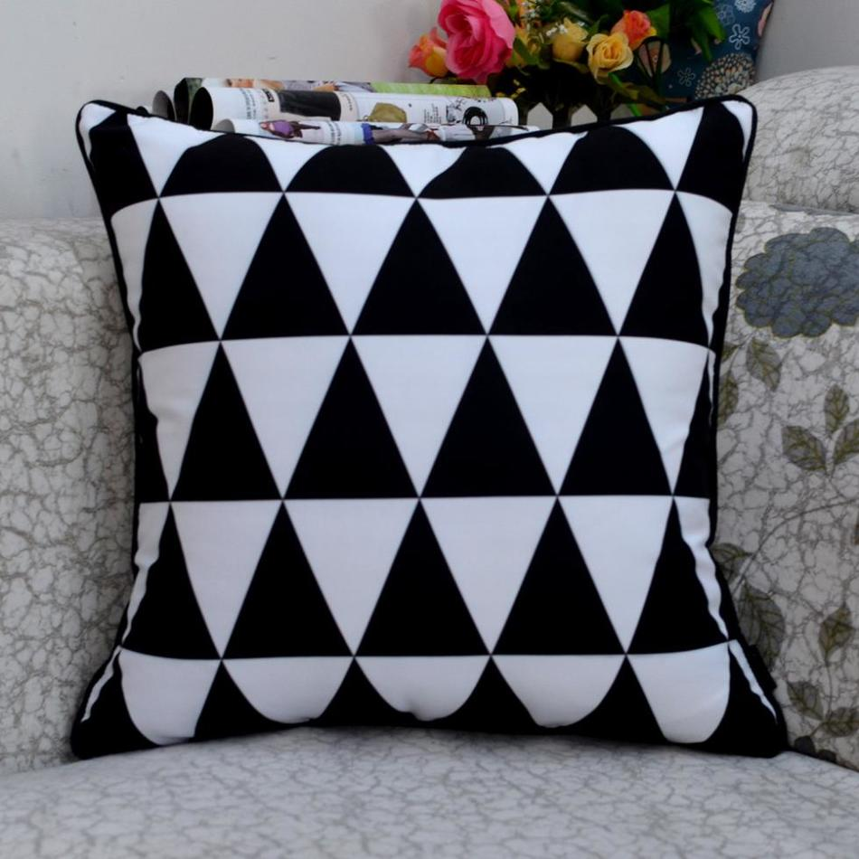 "18 * 18 ""Designer Black White Abstrak Geometry Throw Cover Cushion untuk Kerusi Pengerusi"