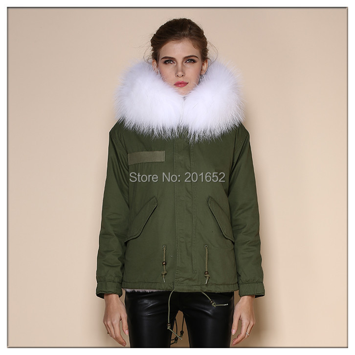 Most Popular Newest Hoodies Parka Womens Warm Clothing 2015 Winter mrs real white Fur coat Trim Pockets Drawstring Long Coat