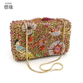 XIYUAN BRAND Fashion Luxury Diamond GOLD Evening Bags BIRDS Rhinestone Clutch crystal purse glitter bolsa feminina MESSENGER BAG