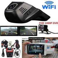 Full HD 1080P Invisible Wifi Car SUV DVR Video Recorder Dual Lenses Camera G-  Sensor   Motion   Sensor     Automobile   Data Recorder
