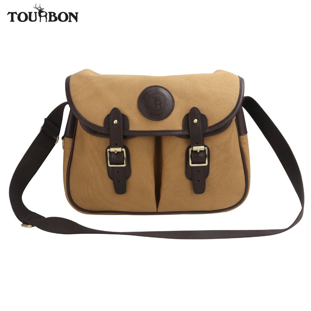 Tourbon Vintage Canvas Leather Fishing Storage Bag Durable Fly Fishing Game Sport Climbing Bags