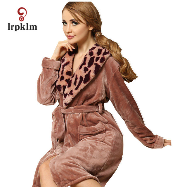 Warm Flannel Long Winter Bath Robe Women Nightwear Plush Bathrobe Sleepwear  Dressing Gown Home Night Clothes Peignoir Femme 814 cf87a1183