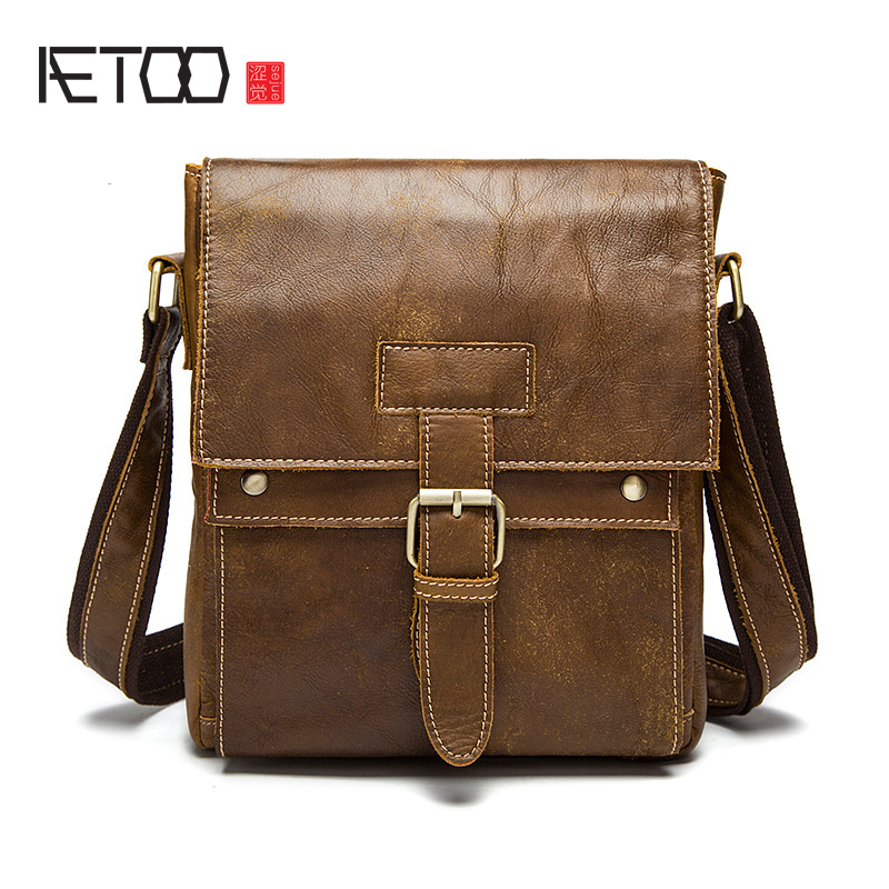 AETOO Genuine leather male bag Korean version of the retro men's shoulder bag head layer of leather vertical paragraph Messenger new korean version of the first layer of leather pillow bag large lychee pattern handbag shoulder messenger fashion leather leat