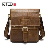 AETOO Genuine leather male bag Korean version of the retro men's shoulder bag head layer of leather vertical paragraph Messenger