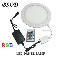 BSOD RGB CONDUZIU a Lâmpada Do Painel 11 W Rodada 225mm Downlight com 24 Teclas de IR Controlador Remoto e um Adaptador ultrafinos AC100V-260V