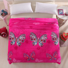Euro Style Sofá Tiro Manta de Franela para Niños Adultos de Color Rosa Mantas de cama Cubierta twin Completa Reina Rey Sábana Mariposa alfombra