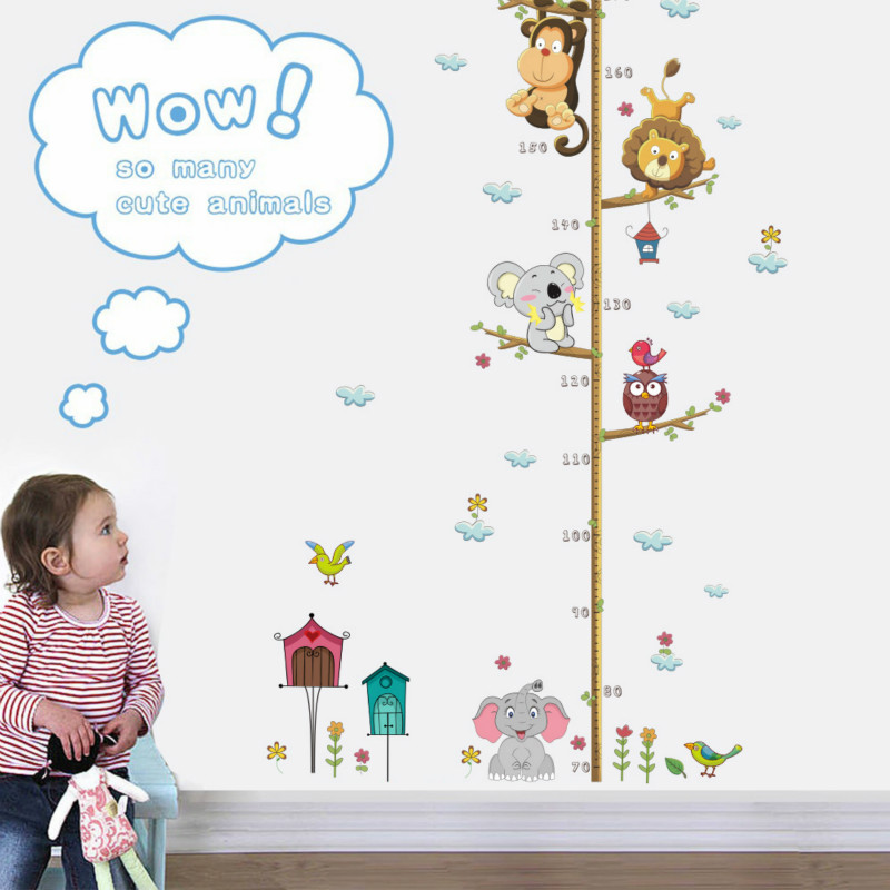 Jungle Animals Lion Monkey Owl Height Measure For Kids Rooms Growth Chart Nursery Room Decor Wall Decals Art
