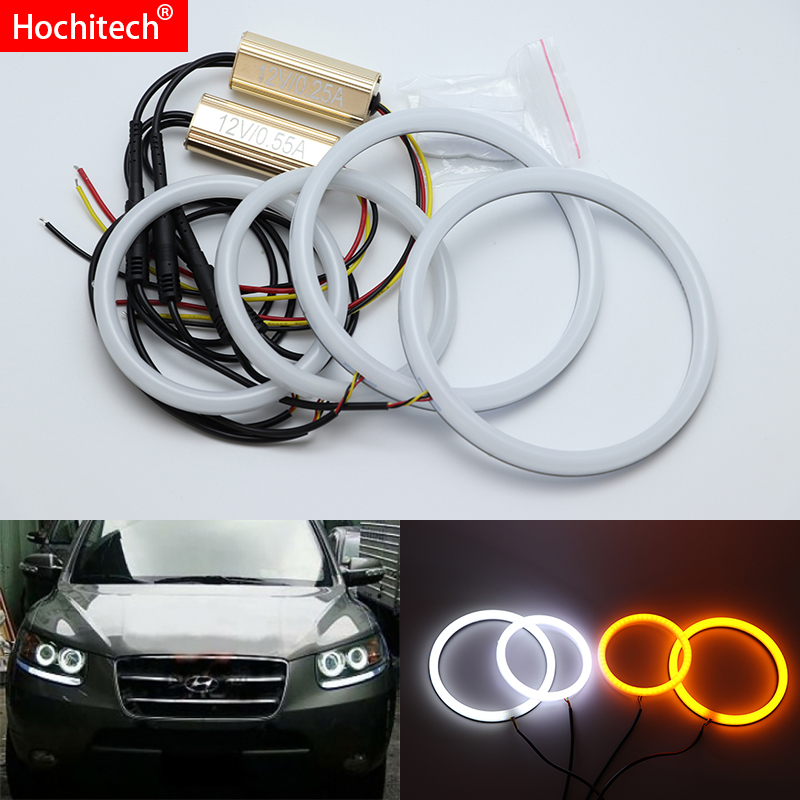 for Hyundai Santa Fe santafe 2007-2012 White & Amber Dual color Cotton LED Angel eyes kit halo ring DRL Turn signal light